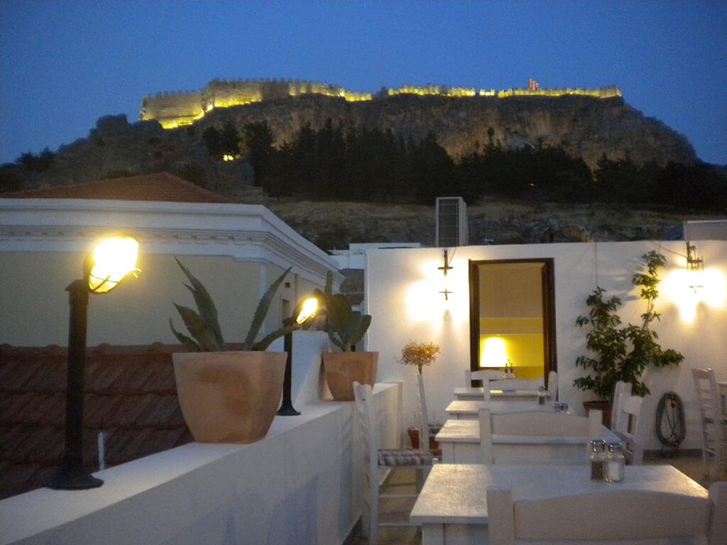 Night View of Acropolis Lindos